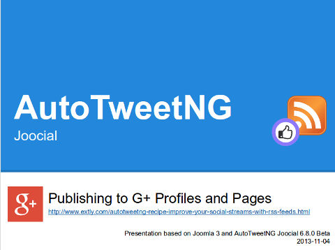 AutoTweetNG Joocial: publishing to G+ Profiles and Pages